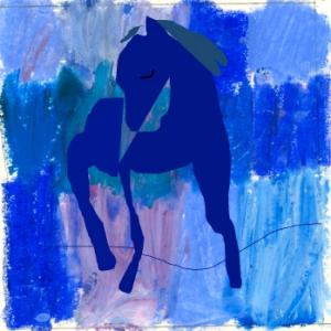 blå ryttar fylld