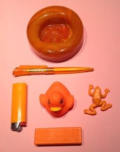 Orange på ljus rosa uppifrån